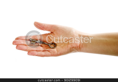 Key in Hand stock photo, A concept image of a womans hand holding a key on an open palm. Isolated on white with clipping mask. by Tyler Olson