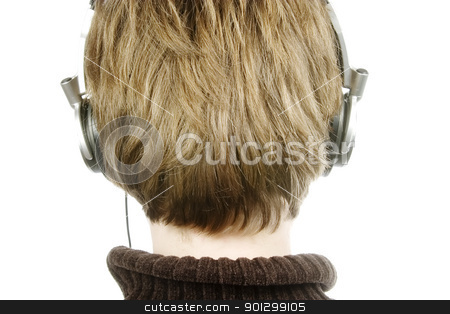Listening to Music stock photo, A person listening to music with headphones.  Isolated on white with clipping path. by Tyler Olson