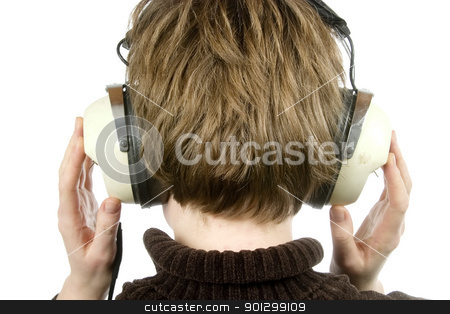 Headphones stock photo, The back of a person head who is listening to music with large retro earphones. Their hands are up, covering their phones / ears.  Isolated on white with clipping path. by Tyler Olson