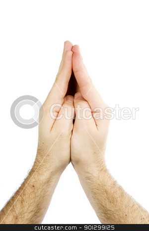 Praying Hands Isolated stock photo, Praying male hands isolated on white with clipping path. by Tyler Olson