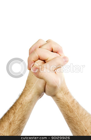 Praying Hands Isolated stock photo, Praying male hands isolated on white with clipping path. (vertical format) by Tyler Olson