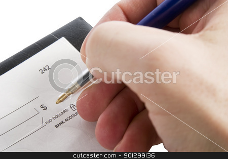 Cheque Amount stock photo, A male hand filling out the amount on a cheque. Isolated on white with clipping path. by Tyler Olson