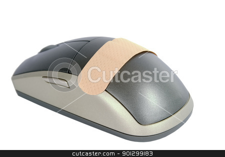 Computer Aid stock photo, A cordless mouse with a adhesive bandage on it.  Isolated on white withclipping path. by Tyler Olson