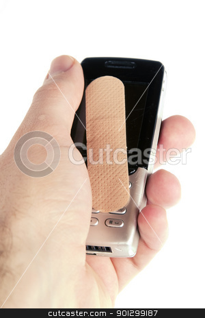 Cell Phone Damage stock photo, A cell phone with an adhesive bandage being held in a males hand, isolated on white with clipping path. by Tyler Olson