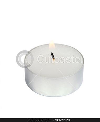 Tea Light stock photo, A tea light isolated on white with clipping path. by Tyler Olson