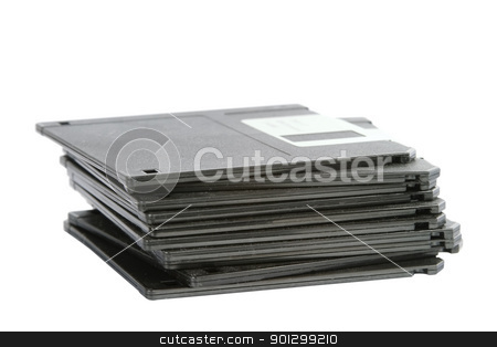Retro Storage stock photo, A stack of old dusty 3 1/2