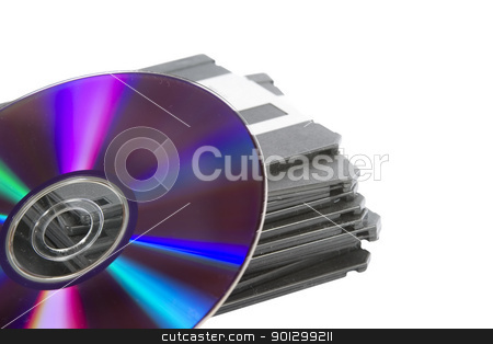 Media Storage stock photo, A stack of old 3 1/2