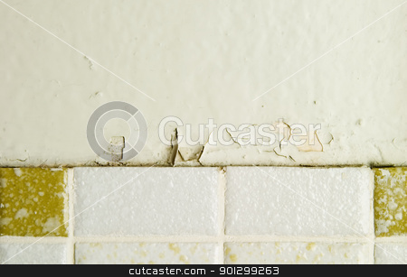Retro Wall Abstract stock photo, A retro 1970's bathroom wall abstract, with chipped paint and old tiles by Tyler Olson