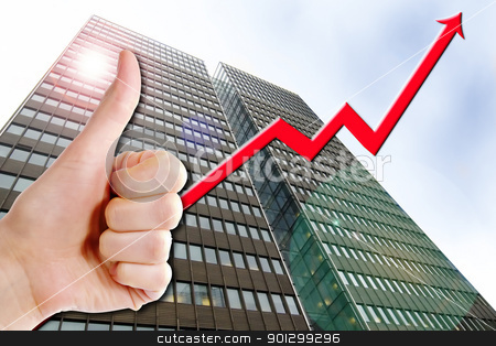 Business Success stock photo, A thumbs up with a graph line going up and up. A tall business building in the background with a lens flare.  Success in Business. by Tyler Olson