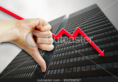 Poor Business stock photo, A thumbs down sign with a tall building in the background an a graph pointing down. by Tyler Olson