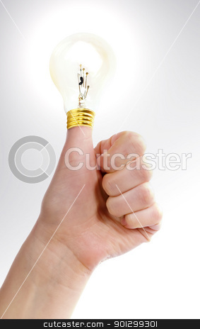 Thumbs Up Idea stock photo, A thumb in the air with a light bulb on it (with lighting effects).  A great idea. by Tyler Olson