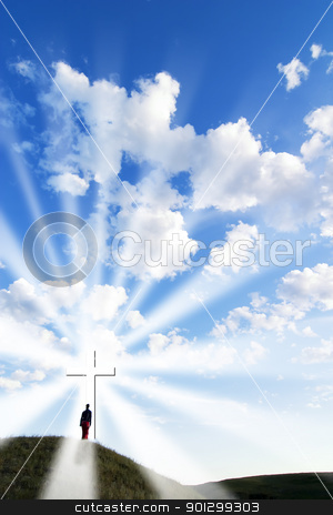 Repent stock photo, A person walking up to a glowing cross on a hill. by Tyler Olson