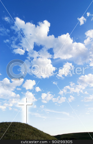 Glowing Cross stock photo, A glowing white cross on a hill. by Tyler Olson