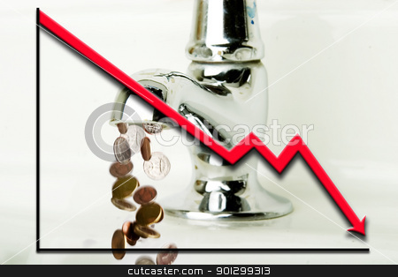 Money Loss stock photo, Money flowing out of a retro bathroom tap with a graph going down overlayed by Tyler Olson