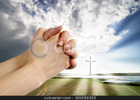 Life Giving Water stock photo, A beautiful prairie lake landscape with a cross.  Life giving water. by Tyler Olson