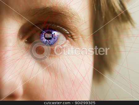 Bar Code Iris stock photo, Red laser lines scanning the face and retina of a woman.  The iris is overlayed with a bar code.  Security, big brother, privacy concept image. by Tyler Olson