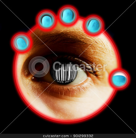 Bar Code Identity stock photo, An eye detail concept image with a bar code for the iris and pupil. by Tyler Olson