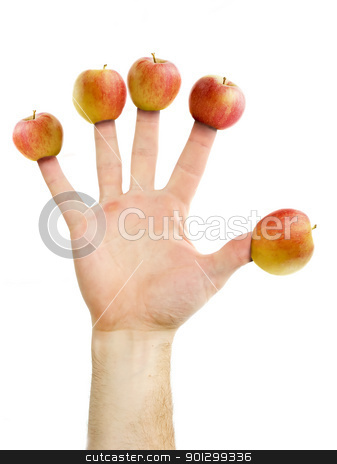 Apple a Day stock photo, An apple a day keeps the doctor away.  Five apples on five fingers.  Healthy eating concept image. by Tyler Olson
