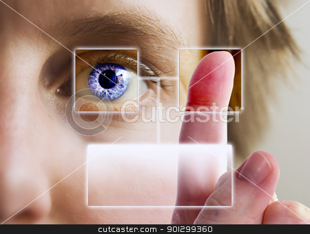 Finger Print Iris Scan stock photo, A finger print being compared to an iris scan. by Tyler Olson