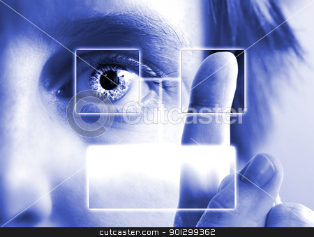 Finger Print Iris Scan stock photo, A finger print being compared to an iris scan with empty text box. by Tyler Olson