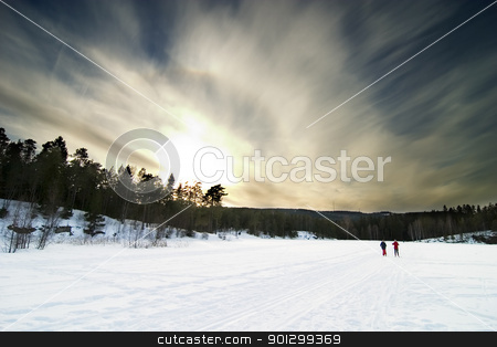 Skiing stock photo, Skiing on a bright sunny day by Tyler Olson
