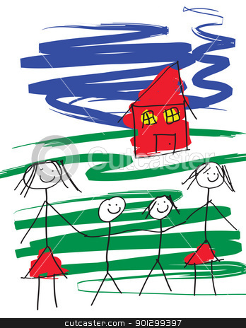 Gay Family stock photo, A child like drawing of a gay female pair of women with two children and a house.  The image is in eps vector format. by Tyler Olson