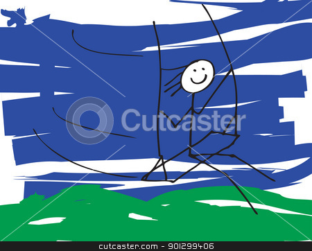 Child on Swing stock photo, A vector image of a child like drawing of a little boy or girl on a swing. by Tyler Olson