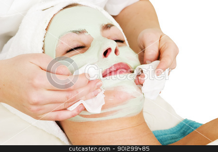 Facial Mask Detail stock photo, Detail of a facial mask treatment being wiped off the face. by Tyler Olson
