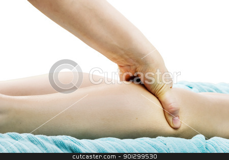 Leg Massage Detail stock photo, A detail image of a female leg being massaged. by Tyler Olson
