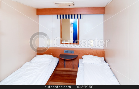 Small Cabin Room stock photo, A very small cabin room on a cruise ship by Tyler Olson