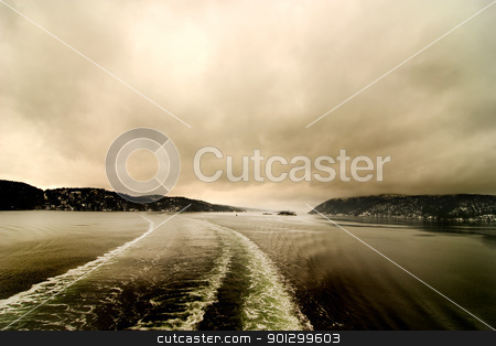 Marine Abstract Wake and Lansdcape stock photo, Boat froth from a cruise ship on an abstract landscape by Tyler Olson