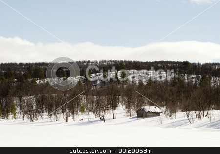 Cabin in the Mountains stock photo, A cabin on a snow filled landscape. by Tyler Olson