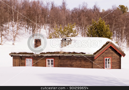 Barren Landscape stock photo, An old building in a snow filled landscape by Tyler Olson