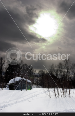 Winter Night stock photo, A winter night cabin scene by Tyler Olson