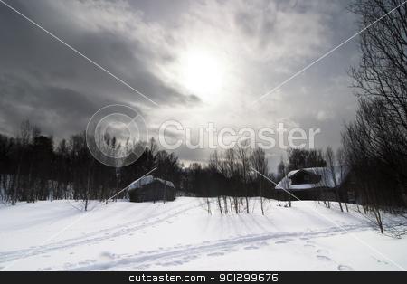 Winter Night stock photo, A winter night cabin scene by Tyler Olson