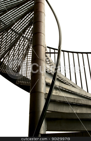Spiral Staircase stock photo, A spiral staircase made in metal isolated on white. by Tyler Olson
