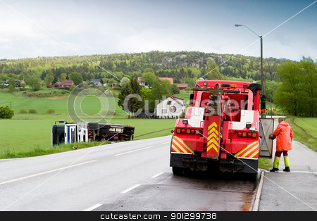 Tow Truck stock photo, A tow truck arrives on the scene of an accident by Tyler Olson