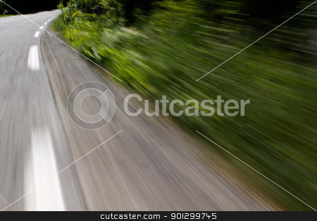 Speed Drive stock photo, A motion blur image of a road and folliage. by Tyler Olson