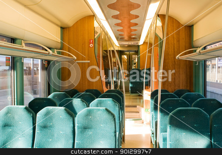 Train Interior stock photo, An empty train interior by Tyler Olson