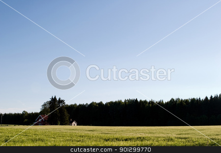 Small Farm Yard stock photo, A small farm in rural norway in the evening. by Tyler Olson