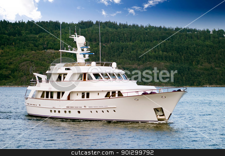Yacht stock photo, A large yacht in the ocean by Tyler Olson