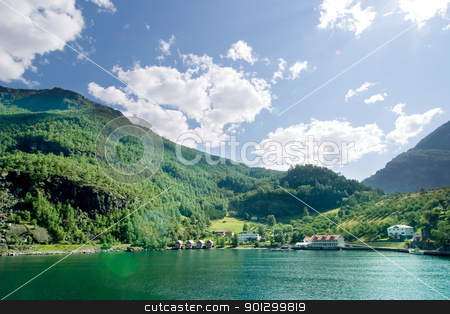 Aurlandsfjord stock photo, Fjord landscape in the western area of Norway, Aurlandsfjord in Sognefjord. by Tyler Olson