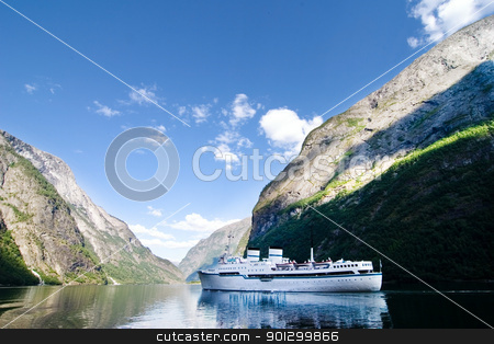 Sognefjord Norway Cruise stock photo, Large cruise ship on Sognefjord near Gudvangen in the western area of Norway. by Tyler Olson