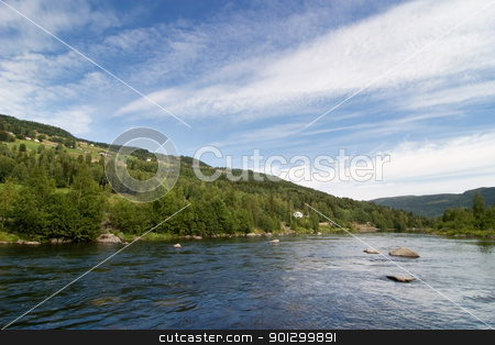 Norwegian Mountain Landscape stock photo, A landscape view of a river through the mountains by Tyler Olson