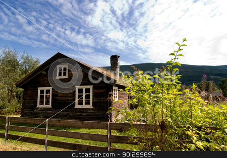 Old Log House stock photo, An antique log house in rural Norway by Tyler Olson