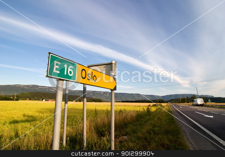 Oslo Traffic Sign stock photo, A traffic sign for oslo and highway E16 by Tyler Olson