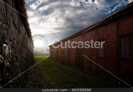 Small Vintage Alley stock photo, A small alleyway between two historical buildings leading out into light. by Tyler Olson