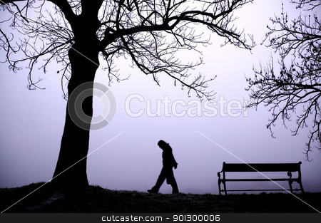 Depressed in Fog stock photo, A person walking alone in thick fog. by Tyler Olson