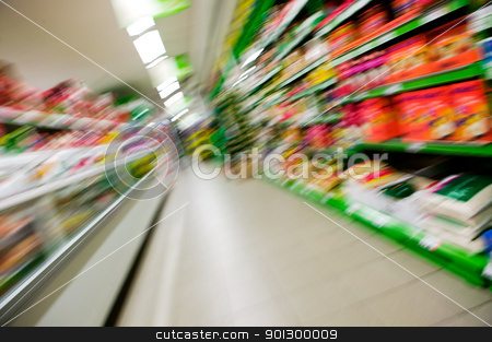 Abstract Grocery Store Blur stock photo, An abstract blur of a grocery store aisle. by Tyler Olson