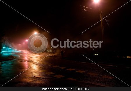 Neighborhood Mood stock photo, A dark moody image of a neighborhood. by Tyler Olson